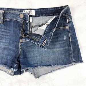 Paige Catalina Fray Hem Cut Off Denim Shorts 28